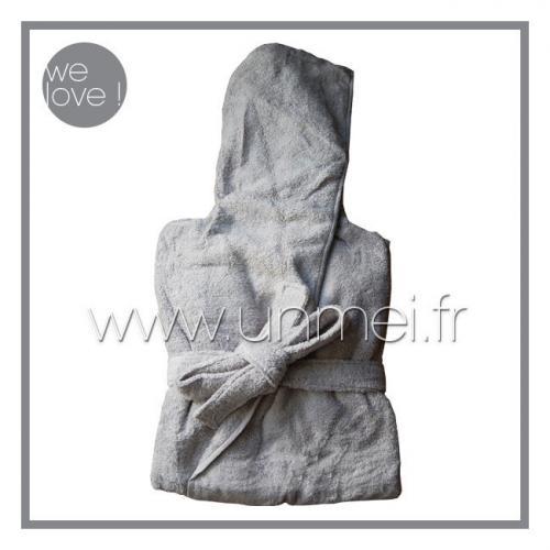 peignoir de bain à capuche cl zéro twist - fil zéro torsion ( gris M )