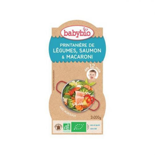 Bols Menu du Jour Babybio 12m Légumes Saumon Pâtes