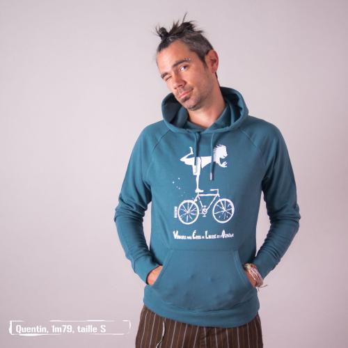"""Sweat capuche équitable bio JAIPUR """"Vélo"""""""