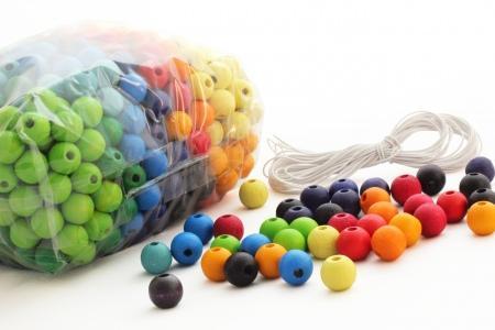 500 perles en bois (12 mm)