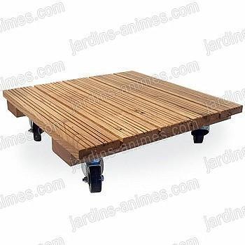 Plateau bois 40cm porte plantes carré à roulettes