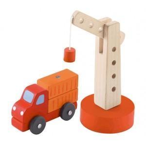 Grue avec camion  sevi 1831- jouets en bois