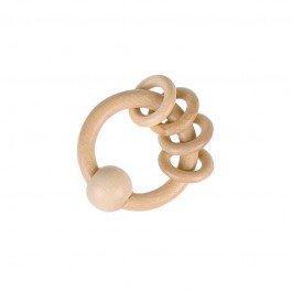 Hochet en bois naturel avec anneaux