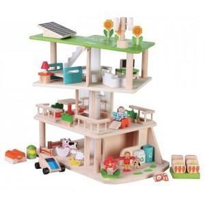 Everearth maison de poupée en bois écologique - durable - jouets