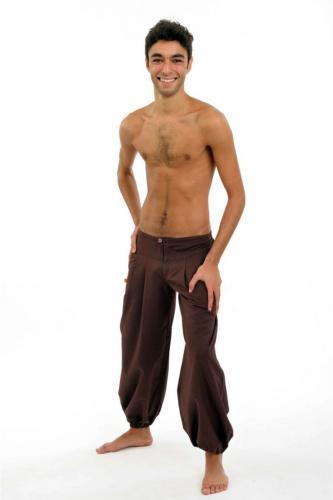 Pantalon ethnique marron-chocolat Herza