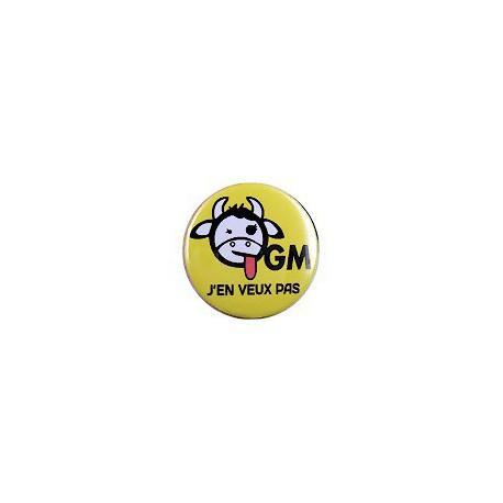 Badge 'OGM j'en veux pas' (Vache)