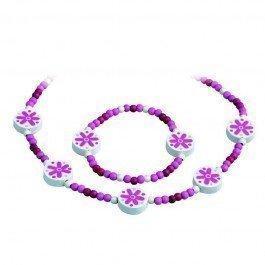 Parure collier et bracelet rose fuschia
