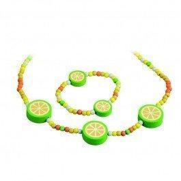 Parure collier et bracelet en bois citron