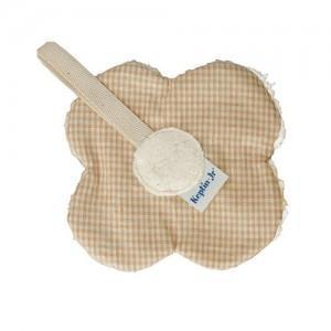 Attache sucette keptin -jr fleur naturel maron - doudou coton bio