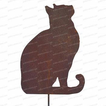 Silhouette chat regardant en l'air - déco de jardin en métal