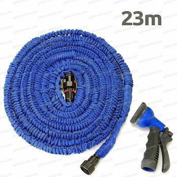 Tuyau extensible Xhose 23m avec son pistolet 7 jets - couleur bleu