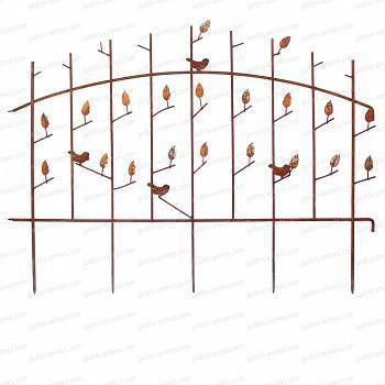 Bordure oiseau et feuilles en acier long.123cm x h.92cm