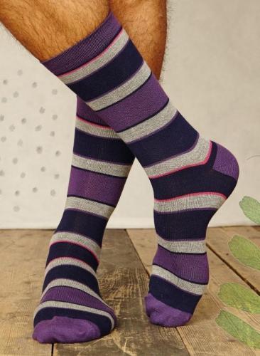 Chaussettes rayées pour homme en bambou et coton bio