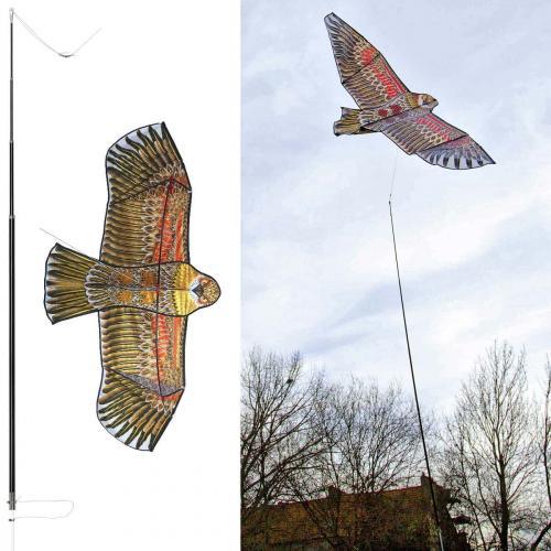 Effaroucheur epouvantail oiseau cerf volant avec mât
