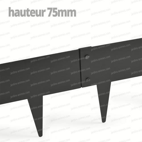 Bordurette Acier 1m - français haut.75mm - Gris RAL 7022