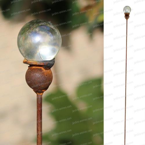 Tuteur acier boule en verre de 40mm