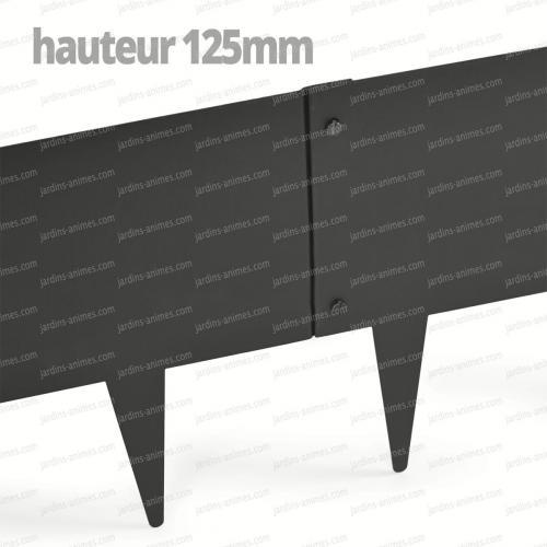 Bordurette Acier 1m - français haut.125mm - Gris RAL 7022