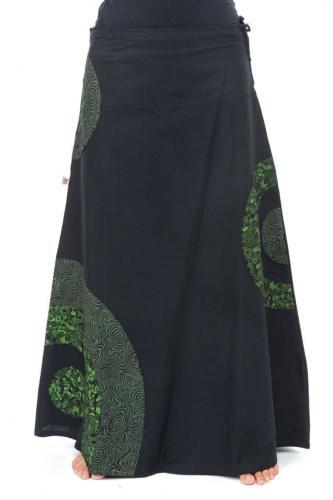 Jupe longue romantique psychedelique green heroine coton epais