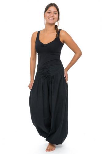 Pantalon hiver ethnic ceinture corset noir Bliza