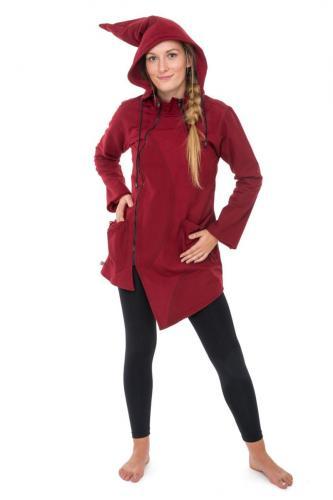 Veste ethnique manteau asymetrique capuche pointue Flex bordeaux