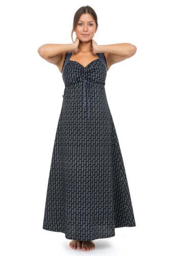 Robe longue ethnique boheme chic hiver motifs noir gris Dilaya