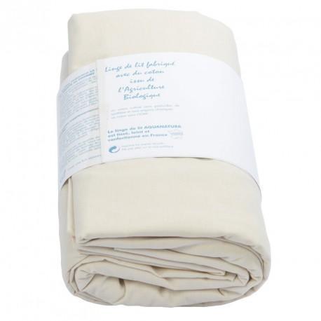 Drap housse coton bio Aquanatura Couleur coton naturel Dimensions 90x190