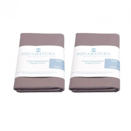 Lot 2 taies coton bio Aquanatura Couleur Corail Dimensions 65x65
