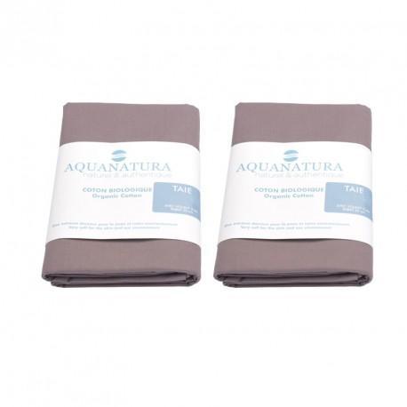 Lot 2 taies coton bio Aquanatura Couleur Corail Dimensions 60x40