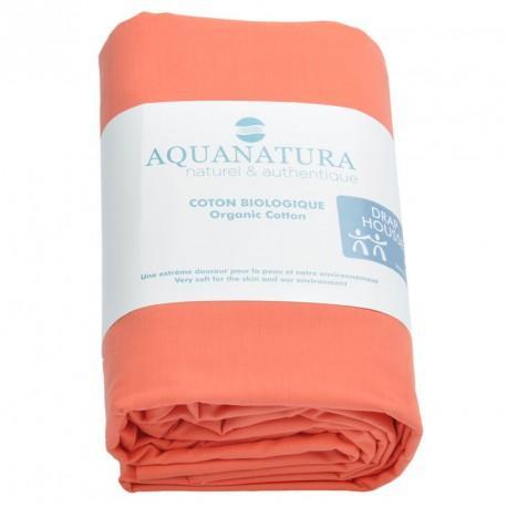 Drap housse coton bio Aquanatura Couleur Corail Dimensions 90x190