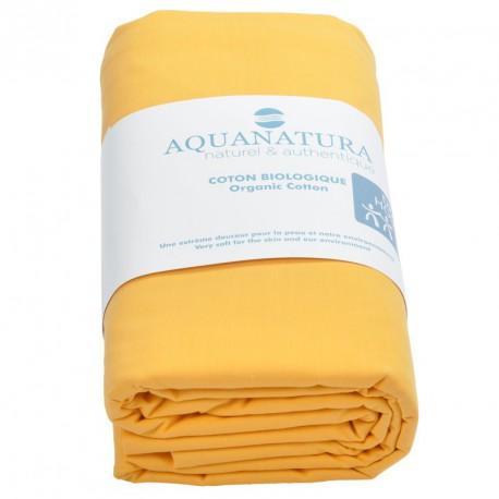 Drap housse coton bio Aquanatura Couleur Jaune Dimensions 90x190