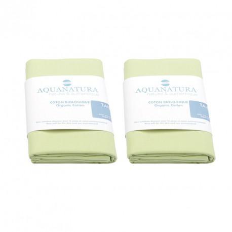 Lot 2 taies coton bio Aquanatura Couleur Vert Dimensions 60x40