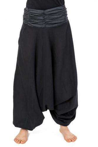 image Sarouel elastique mixte noir gris rayures coton leger Haku