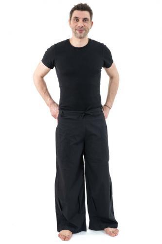 Pantalon mixte large droit basique coton leger noir uni Pyanta