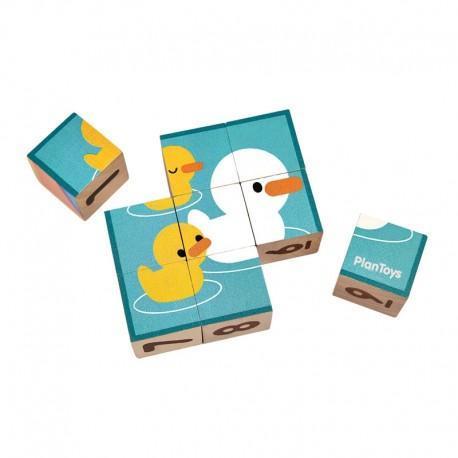 Cubes puzzles chiffres - quantités illustrés animaux  plantoys -