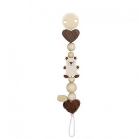 Accroche tétine bois naturel coeur - ours heimess - jouets