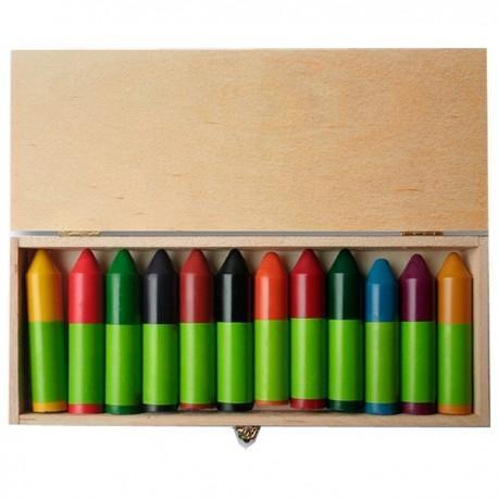 ökonorm craies à la cire 12 couleurs boite en bois fsc