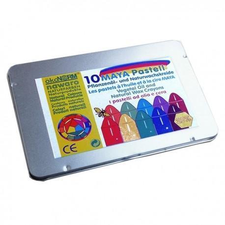 Okonorm nawaro 10 craies maya pastelle à la cire boîte métal