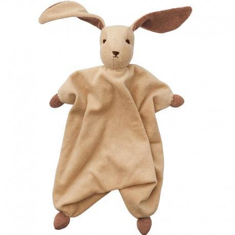 Peppa doudou mouchoir coton bio lapin tino crème - maron - doudou