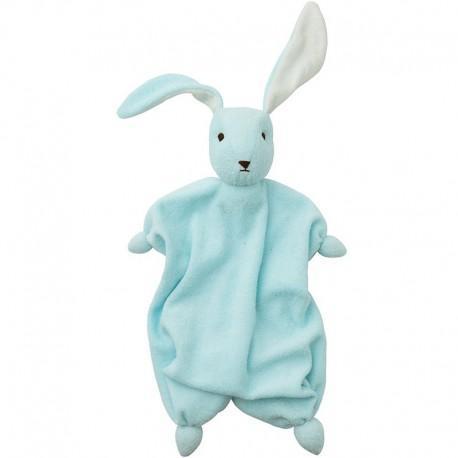 Peppa doudou mouchoir coton bio lapin tino bleu ciel - bébé bio