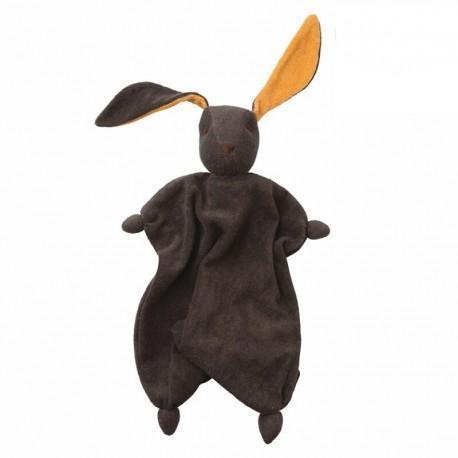 Peppa doudou coton bio lapin tino anthracite orange - bébé naturel