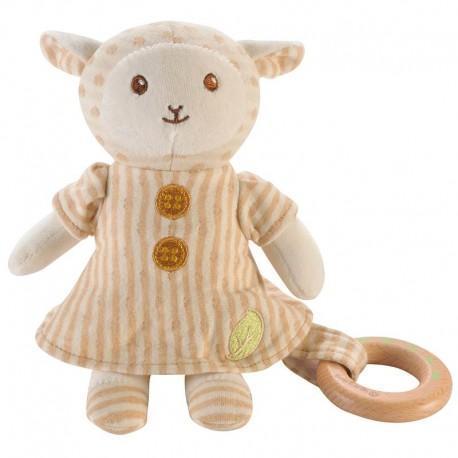 Peluche everearth mouton -  anneau de dentition - peluche bio