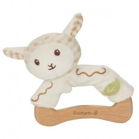 Hochet everearth mouton bois - coton - hochet bio