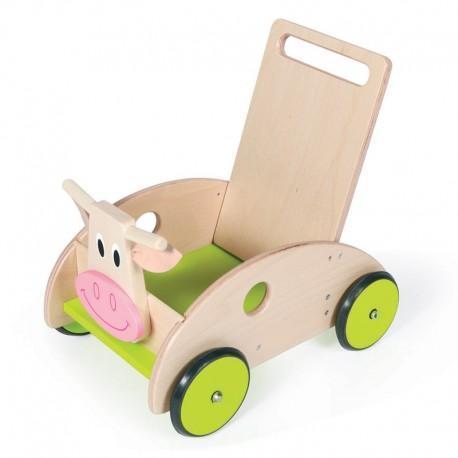 Chariot de marche vache scratch - chariot en bois