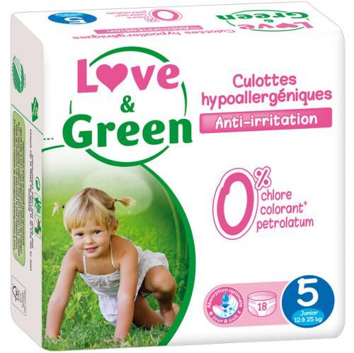 Culottes d'apprentissage jetables écologiques Love - Green Taille 5 JUNIOR 12-25kg
