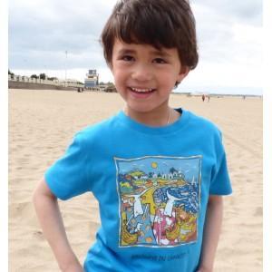 Tee-shirt bio bleu azur Holdays in Chausey