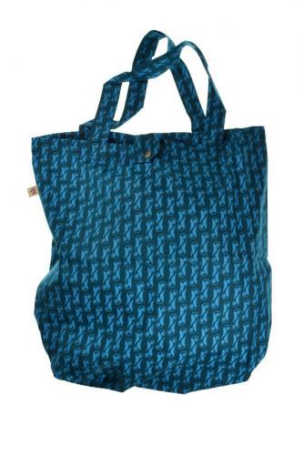 Sac tote bag coton imprimé ethnic keyword turquoise