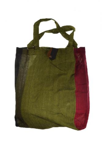 Sac tote bag coton imprimé ethnic noir vert rouge