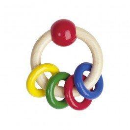 Hochet en bois 4 anneaux