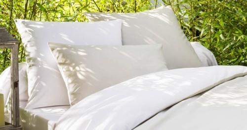Taie d'oreiller en coton bio blanc-beige
