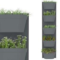 Jardin vertical 5 bacs, fond gris foncé bac anthracite